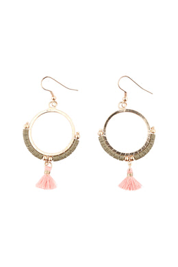 Tassel Beads Sequins Hoop Earrings