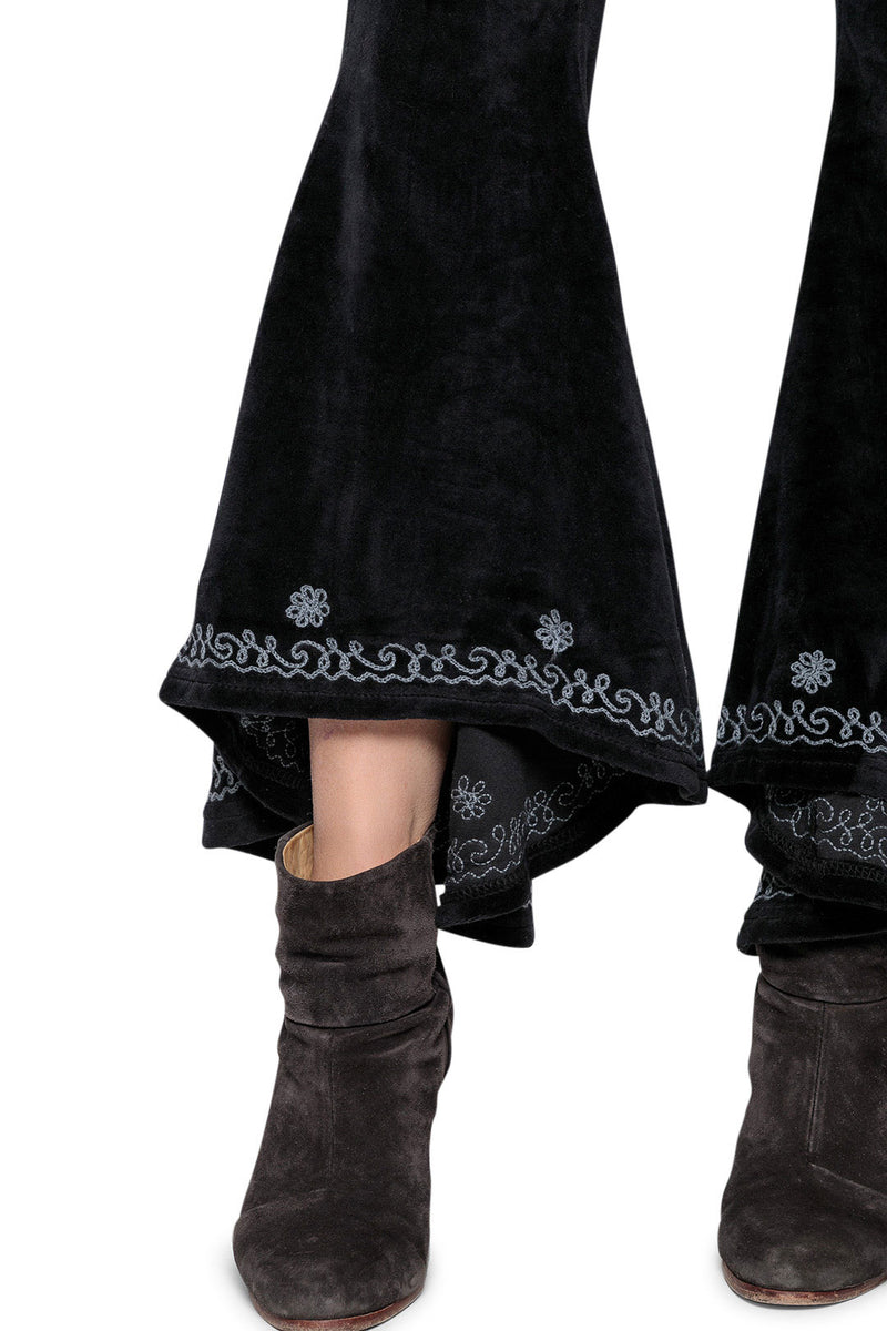 Black Velvet Embroidered Bell Bottoms