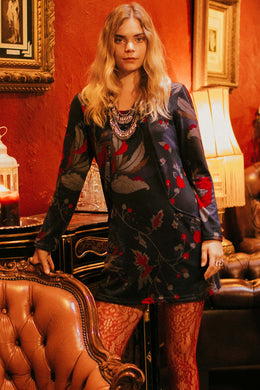 Long Sleeve Fig Print Dress
