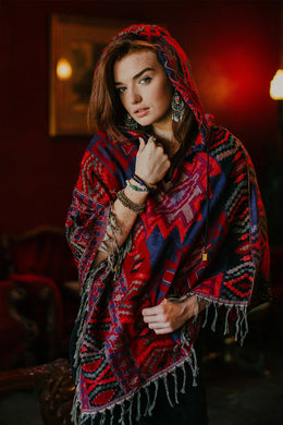 Aztec Hooded Poncho Top