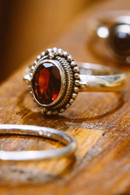 Tribal Setting Garnet Silver Ring