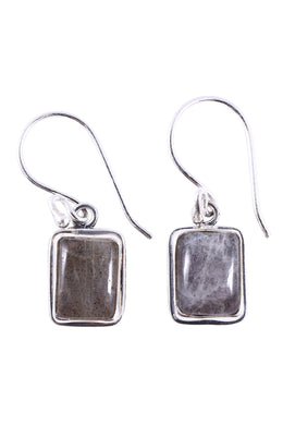 Labradorite Rectangle Droplets Silver Earrings