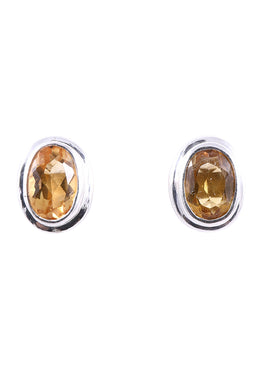 Oval Citrine Stud Silver Earrings