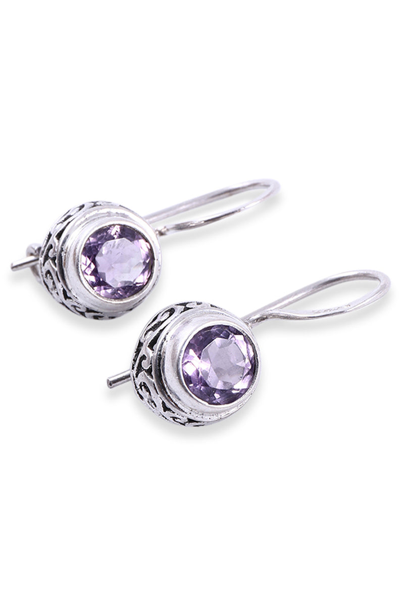 Dainty Swirl Edge Amethyst Silver Earrings