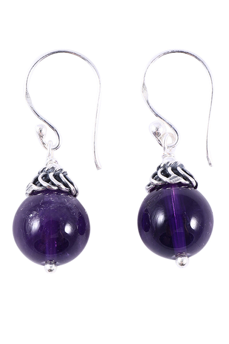 Amethyst Bead Droplet Silver Earrings