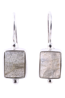 Labradorite Rectangle Hook Silver Earrings