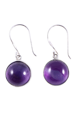 Amethyst Dome Dangle Silver Earrings