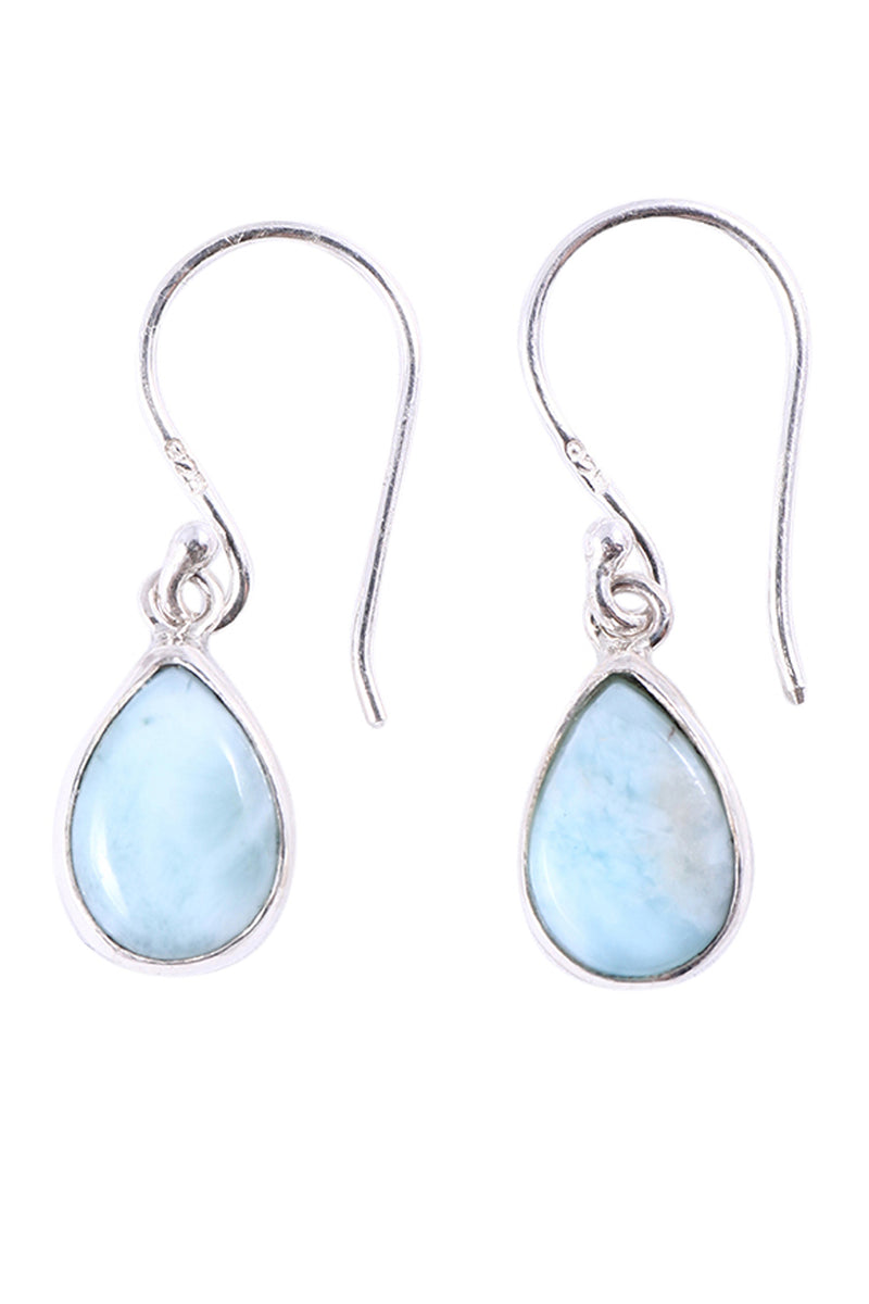 Larimar Teardrop Dangle Silver Earrings