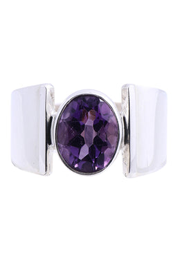 Oval Amethyst Silver Ring