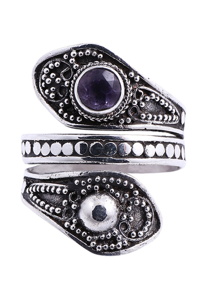 Balinese Amethyst Wrapped Silver Ring