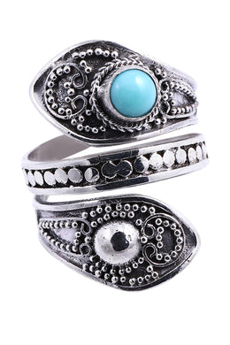 Balinese Turquoise Wrapped Silver Ring
