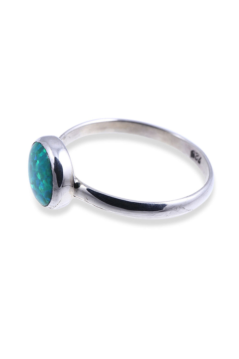 Round Opalite Silver Ring