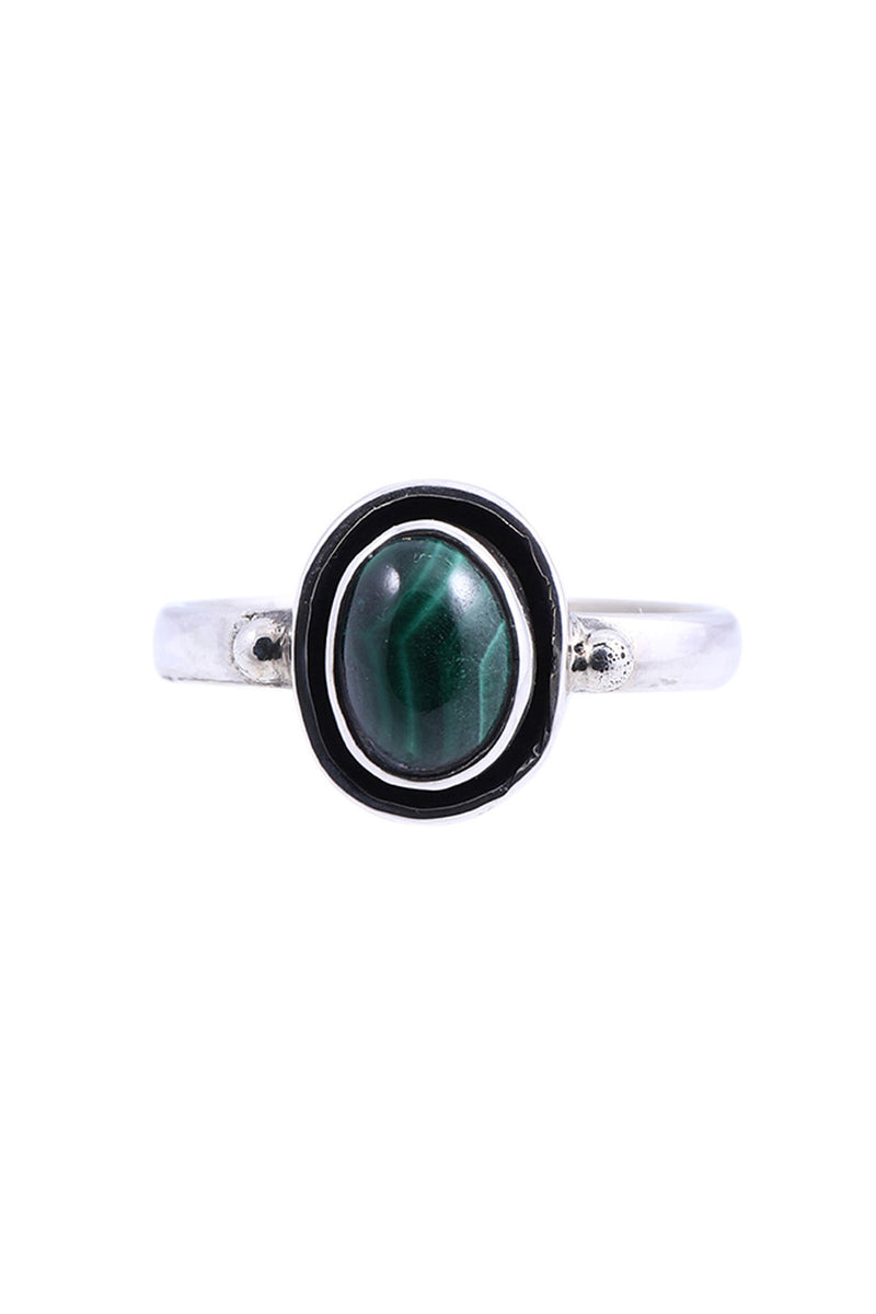 Oval Malachite Silver Ring