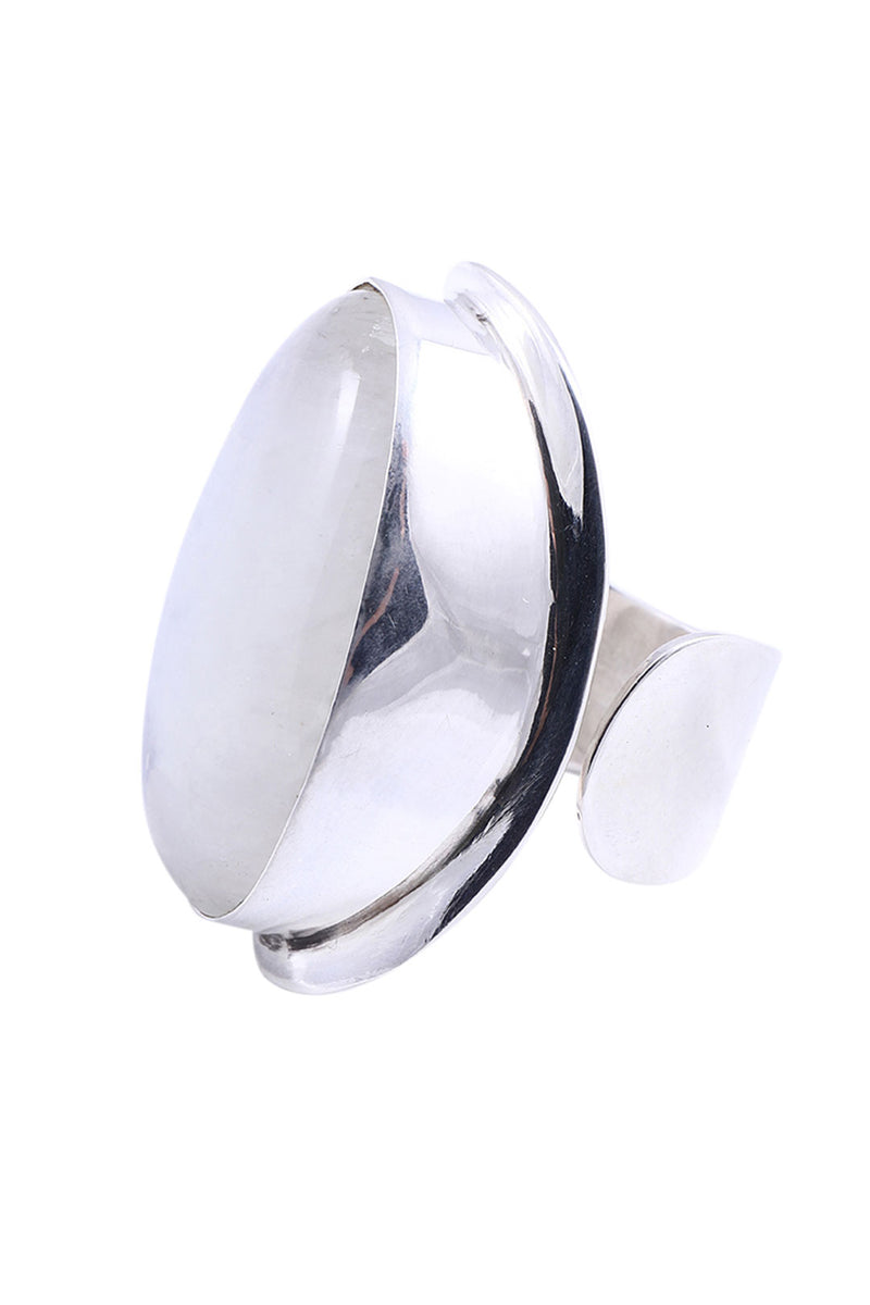 Oval Open Shank Rainbow Moonstone Silver Ring