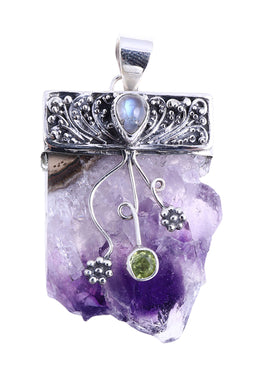 Raw Amethyst with Assorted Gemstones Silver Pendant