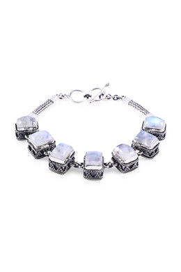Linked Square Rainbow Moonstone Silver Bracelet