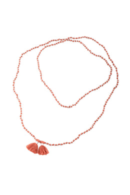 Dusty Coral Knotted Spacers Tassel Necklace