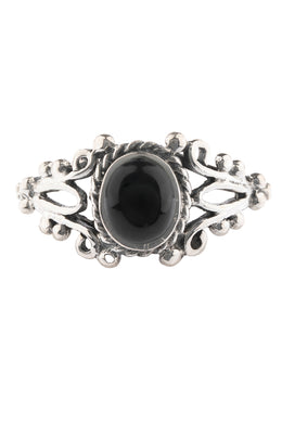 Black Onyx Filigree Silver Ring