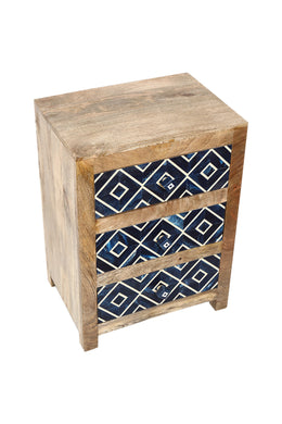Sapphire Diamond Resin Inlay Bedside Table