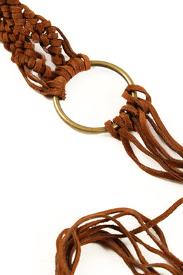 Weave End Loops Suede Leather Belt