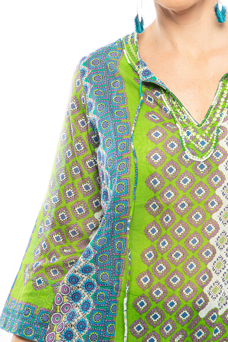Tie-Front Tunic with Sequin Trim