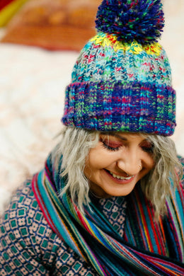 Multi Speckle Stripe Pom Pom Beanie
