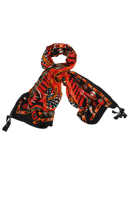 Orange Cosmic Sun Print Scarf