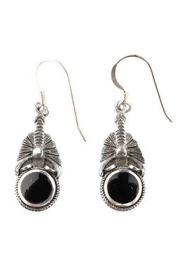 Tribal Round Droplets Silver Earrings