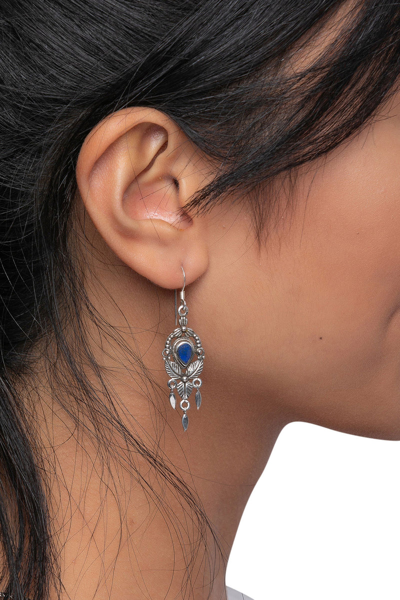 Ornate Droplets Stone Silver Earrings