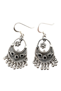Rounded Shield Droplet Silver Earrings
