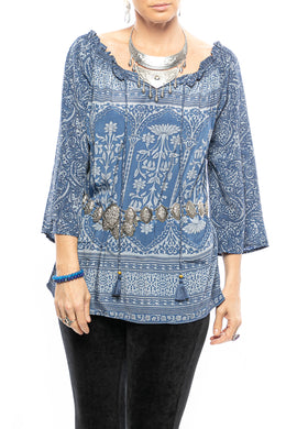 Off-the-Shoulder Paisley Peasant Top