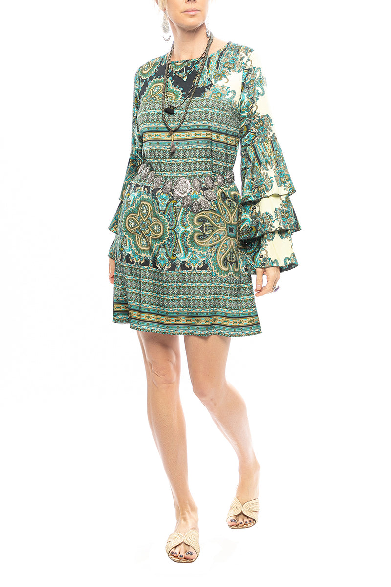 Paisley Frill Sleeve Mini Dress