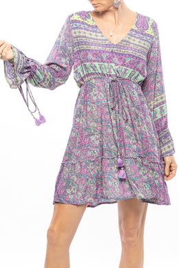 Paisley Frill Mini Dress