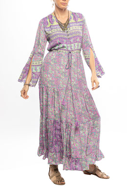 Paisley Split Sleeve Maxi Dress