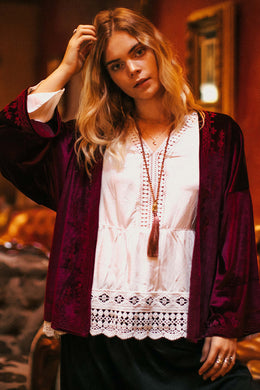 Embroidered Velvet Long Sleeve Jacket