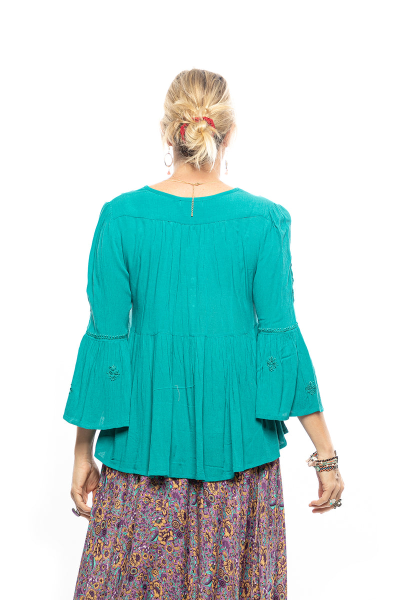 Embroidered Bell Sleeve Peasant Top