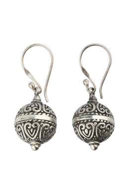 Round Filigree Droplet Silver Earrings