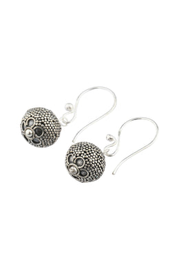 Round Dotted Droplet Silver Earrings