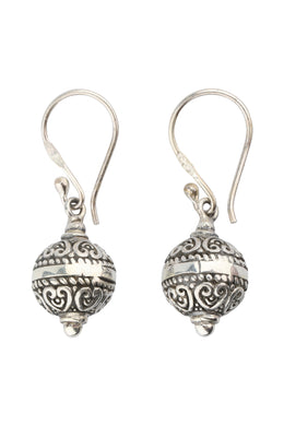 Mini Filigree Round Droplet Silver Earrings