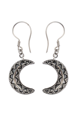 Tribal Crescent Moon Textured Silver Earrings