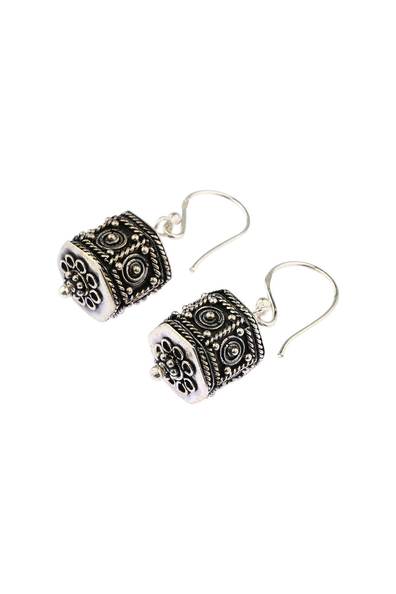 Textured Balinese Lantern Drop Earrings