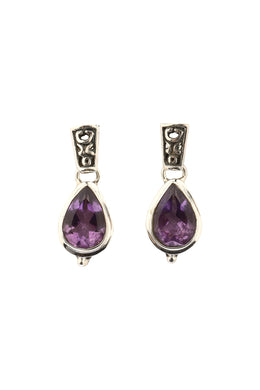 Teardrop Amethyst Stud Earrings