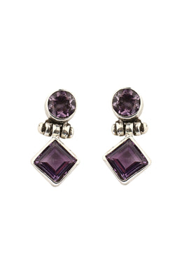 Amethyst Drop Stud Earrings