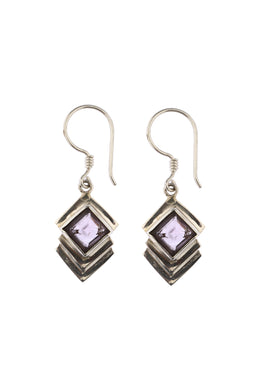 Modern Square Amethyst Drop Earrings
