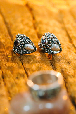 Statement Garnet Wrap Balinese Silver Earrings