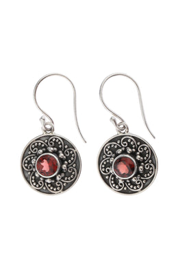 Round Garnet Swirling Droplet Silver Earrings
