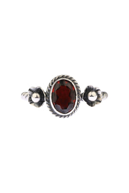 Silver Flower Twist Garnet Ring