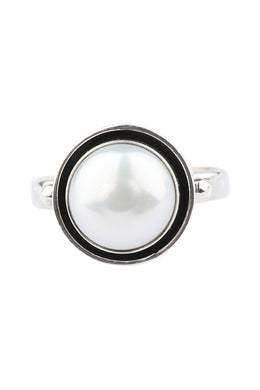 Round Freshwater Pearl Oxidised Silver Ring