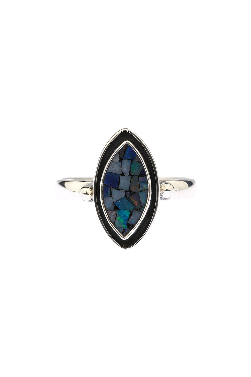 Marquise Mosaic Opal Oxidised Ring