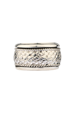 Spinning Silver Basket Weave Ring